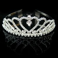 Wholesale Diamante Hair Bow - HOT Sale Luxury Sparkling Silver Color Wedding Diamante Pageant Tiaras Prom Crystal Bridal Crowns For Bride Hair Jewelry Accessories