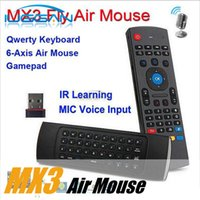 Wholesale Wireless Mic Laptop - X8 Air Fly Mouse MX3 2.4GHz Wireless Keyboard Remote Control Somatosensory IR Learning 6 Axis without Mic for Android TV Box