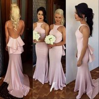 2017 Neueste Pink Lange Brautjungfer Kleider Backless Style Cutouts Sexy Mantel Prom Kleider Mit Peplum Sweep Zug Trauzeugin Kleid Kleider