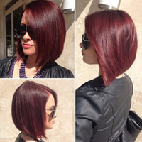 Wholesale Glueless Full Red Lace Front - Full Lace Human Hair Wigs straight Glueless Dark Red Bob Wigs Brazilian Virgin Hair Lace Front Wig Natural Looking With Baby Hair