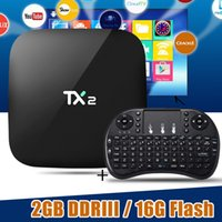 2017 Más Barato 2 GB RAM TX2 R2 16 GB android-tv-box Android 6.0 RK3229 WiFi Bluetooth con teclado inalámbrico Soporte HDMI LAN USB X92 X96