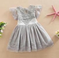 robe d'enfant tutu achat en gros de-Nouvel été Filles Enfants Tutu Coton Dentelle Robe De Bal Robe De Soirée Enfants Princesse Robes Blanc Rose Gris 1444