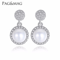 Wholesale Sending Earring Boxes - PAG&MAG Brand 925 silver jewelry Fashion White Natural Pearl Earrings Small And Lovely Style For Girl Friend Gift,Send Free Box