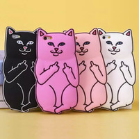Wholesale iphone cases silicon animals - For Iphone X 3D Soft Silicon Cat Case Middle Finger Cat pocket Cartoon Animals Rubbe silicone Cover For iPhone 5 5s 6 6s iPhone 7 8 plus