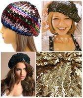 Wholesale Dance Costume Accessories Hat - Women Sequins Hat Shiny Costume Jazz Glitter Dance Beret Round Cap Ladies Fashion Accessories Beanie hot selling