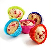 Wholesale cupcakes muffin resale online - Silicon Cupcake Pan Multicolor Muffin Cup Round Shaped Food grade Silicon Cake Baking Molds Cup Jelly Mold