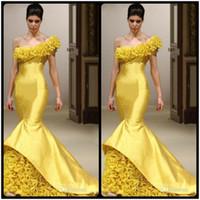 Wholesale Sexy Fasion - Stylish Evening Gowns Vestido Longo De Renda 2018 New Fasion Sexy One Shoulder Yellow Mermaid Long Prom Dresses