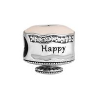 Wholesale Happy Days Tv - Happy Birthday Cake Charm Mixed Enamel Clear CZ 2017 Spring 100% 925 Sterling Silver Bead Fit Pandora Bracelet Fashion Jewelry DIY Brand
