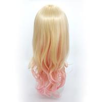 perçinli peruklar toptan satış-XT934 Moda Mix renk Sarışın Pembe Degrade De Couleur 24 inç Uzun Derin Kıvırcık Peruk Eğik Patlama Lolita Cosplay Doğal Peruk Sentetik Saç