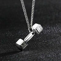 Wholesale Couple Pendants Gold - Fashion fitness dumbbell necklace men domineering Korean version of the couple pendant female female titanium barbell with jewelry