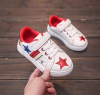 Wholesale Walk Shoes Baby Boys - All Sizes 26-30 2017 Fall boys sneakers girls white casual sports shoes shiny five-pointed star kids shoes baby quality walking shoes