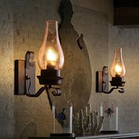 Rústico Nordic Glass Retro Wall Lamp Bedroom Sideside Wall Sconce Vintage Industrial Wall Light Fixtures