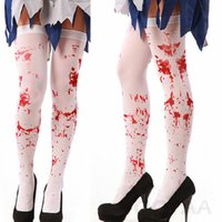 1Pair Over The Knee Socks Fake Red Blood Stained Costume sanglant d'Halloween White Horror Sokken en gros