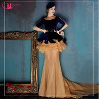Wholesale Top Designers Mermaid Dresses - Special Occasion Evening Dress Elegant Designer Long Sleeve Velvet Top Fashion Mermaid Gown 2016 Winter Collection
