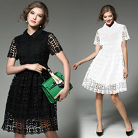 Wholesale Vintage Clothing Lines - HIGH Quality Self portrait New Fashion 2017 Runway Clothing Women's Perspective Lace Knee-Length Dress Vintage Female vestido