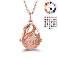Wholesale Fragrant Essential Oils - Rose Gold Swan Charm Women Aromatherapy Essential Oils Fragrant Diffuser Locket Hollow Pendant Long Necklace