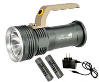 askeri bataryalar toptan satış-Taşınabilir Fenerler Alüminyum Su Geçirmez CREE LED Projektör 18650 Pil Şarj Edilebilir El Feneri 500 M Aralığı Askeri Torch Işık