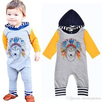 Wholesale Infants Rompers Baby Animal - 2017 Fashion Infant Baby Boys Romper Jumpsuit Cartoon Hooded Long-sleeve Girl One Pieces Rompers Autumn Animal Wolf Kids Cloth Free Shipping