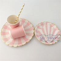 Atacado-32 Conjuntos Pink Gold Foil Talheres Gold Paper Beverage Guardanapos Taças Pink Striped Dinner Plates Meninos / Grils Shower Decor