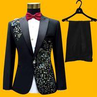 Wholesale Fly Instruments - Wholesale- (jacket+pants+tie+belt)male suit groom wedding prom party paillette red black instrument slim costumes blazers flower formal