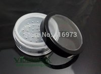 Wholesale Cosmetic Containers Sifters - Wholesale- 100pcs lot 20ml   10g loose powder jar with sifter container with clear window black rim cap cosmetic packing
