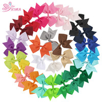 Wholesale Hair Bows For Women - XIMA 28pcs lot 5inch Grosgrain Ribbon Bows With Clip Boutique Women Hair Bows for Kids Hair Accessories