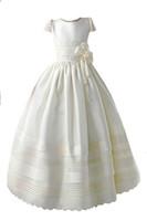 Wholesale Designer Kids Shirt - Honey Qiao Communion Dresses 2017 Sweet First Holy Flower Girl Gowns Short Sleeves Pearls Lovely Bow Kids Formal Dresses
