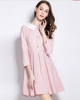 Wholesale Ladies Pink Doll Dress - New Spring Summer Women's Fashion Pink Plaid Dresses Ladies' Splicing Doll Collar 3 4 Sleeve Dresses Girls' Slim High-waisted A-line Dress