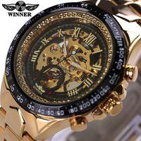 спортивный дизайн часов оптовых-Wholesale- Winner Stainless Steel Gold Watch Number Bezel Sport Design Mens Skeleton Watches Top  Automatic Mechanical Watch