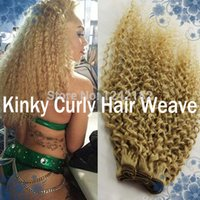 Wholesale Bleached Curly Weave - Top Quality Unprocessed Brazilian Virgin Hair #613 bleach blonde 1PCS LOT Kinky Curly Remy Human Hair Weave Bundles Free Shipping