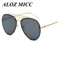 Wholesale Nose Yellow - ALOZ MICC Brand Irregular Bridge of The Nose Men's Pilot Sunglasses For Women Mirror Glasses UV400 Metal Frame A058