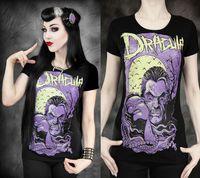 Wholesale Horror Shirts - Black Summer Women's O Neck Short Sleeved T-Shirt DRACULA PURPLE Vampire Full Moon Horror 3D Printed Blouse