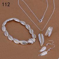porzellan 925 silber preis ring großhandel-Sterlingsilber der gleichen Preismischungsartfrauen überzog Schmucksachesätze, Art und Weise 925 silberner Halsketten-Armband-Ohrring-Satz GTS39