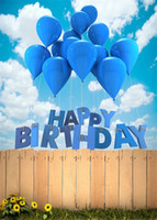 Wholesale Fly Backgrounds - Flying Blue Balloons Happy Birthday Backdrop Photography Blue Sky Cloud Wooden Fence Outdoor Scenic Studio Backgrounds for Baby Children