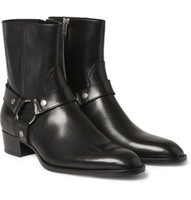 Wholesale fall harness - Man Fashion Slp Classic Wyatt 40 Harness Boots In Black Leather Personalized Men's Martin Boots Cowboy Boots