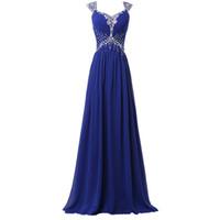 evening dress al por mayor-Vestidos de noche azul real 2016 vestidos largos de noche de gasa lentejuelas vestido de fiesta formal Invitación larga fiesta más tamaño vestidos de ocasiones especiales