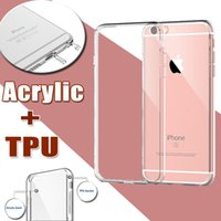 Wholesale Silicone Case Iphone Dust Plug - Ultra Thin Slim Acrylic+TPU Soft Transparent Silicone Crystal Hard Full Clear Cover Case Skin For iPhone 8 7 Plus 6 6S 5S SE With Dust Plug