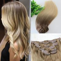 extensiones de cabello marrón claro ombre al por mayor-Clip para la cabeza completa En Extensiones de cabello humano Ombre Medio Marrón Ombre Hair 613 # Light Blonde Balayage Highlights 7PCS mucho 120gram