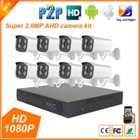 Wholesale Security Cameras 8ch - 8CH AHD 1080P 2MP Full HD Home Outdoor CCTV System Kit 8 Channel Array Surveillance Camera 1080P Security Kit