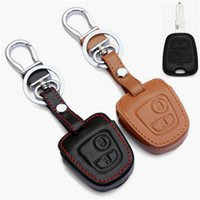 Wholesale Peugeot Keychain - Car Genuine Leather Remote Control Car Keychain Key Cover Case For Peugeot 206 207 307 308 2Button Transponder Key S61