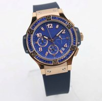 Wholesale Rubber Bands Diamonds - Top Swiss Brand 36MM Luxury Ladies Watches Quartz Chronograph Womens Watch Blue Dial With Blue Diamond Bezel On A Blue Rubber Band