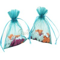 Drawable Packaging Bags 50pcs / lot Teal Blue Strong Sheer Organza Pouch Свадебные сувениры Подарочные сумки 5
