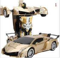 Wholesale Robot Car Sensors - Remote Sensing Sensor One key Deformation Car People + Remote Control Car Deformation Car King Kong Robot Children's toys 1:12