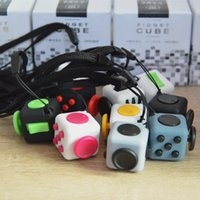 Wholesale Cube World Toys - 11 colors 2017 new fidget cube Keychains the worlds first American decompression anxiety toys Keyring 2.2*2.2cm free shipping C1670