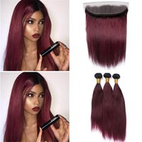 Wholesale Two Color Frontal Closure - 8A Ombre 1B 99J Straight Hair Bundles With Lace Frontal Closure Two Tone 1B Burgundy Ombre Virgin Hair Weaves With 13*4 Lace Frontal