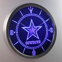 Wholesale Neon Led Clock - Wholesale-nc0503 Dallas Cowboys Neon Sign LED Wall Clock