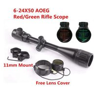 Wholesale Illuminated Hunting Rifle Scopes - 6-24X50 Adjustable Hunting Green Red Dot Illuminated Tactical Riflescope With Scope Mount Reticle Optical Front Sight Scope for Riflescopes