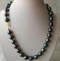 ingrosso collana di perle di mare naturale-11-13mm Collana di perle naturali barocche nere del Mare del Sud 14k fermaglio in oro 18 pollici