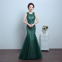 Wholesale Emerald Wedding Dresses - Mermaid Evening Dresses 2017 Emerald Green Formal Dress Mother Of The Bride Lace Tulle Wedding Party Dress Cheap 2017 New