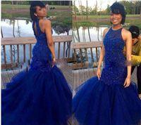 indiana sexy de volta venda por atacado-2017 Azul Royal Vestidos de Baile 2016 Sexy Back Mermaid Beadings Duros Evening Party Gowns Vestido Indiano Menina Negra Vestido De Festa Para Mulheres Spe